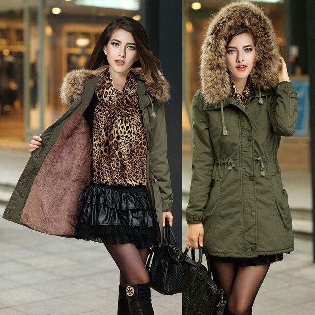 Womens Winter Warm Overcoat Long Hooded Jacket Coat Thicken Fur Outwear Parka