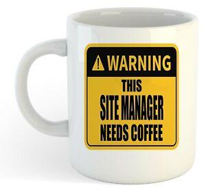 Warning-Esta-Site-Director-Necesita-Cafe-Blanco-Taza-Regalo-Trabajo-Regalo
