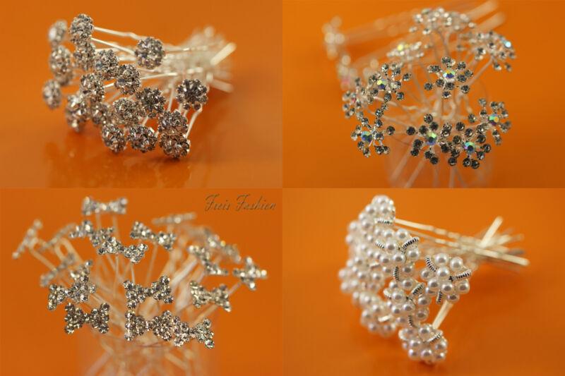 100% Wahr 10 X Haarnadeln Braut Hochzeit Kopfschmuck Haarschmuck Strass Perlen Blume B015