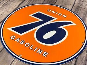 VINTAGE-034-UNION-76-GAS-034-11-3-4-034-PORCELAIN-METAL-GASOLINE-amp-OIL-SIGN-PUMP-PLATE