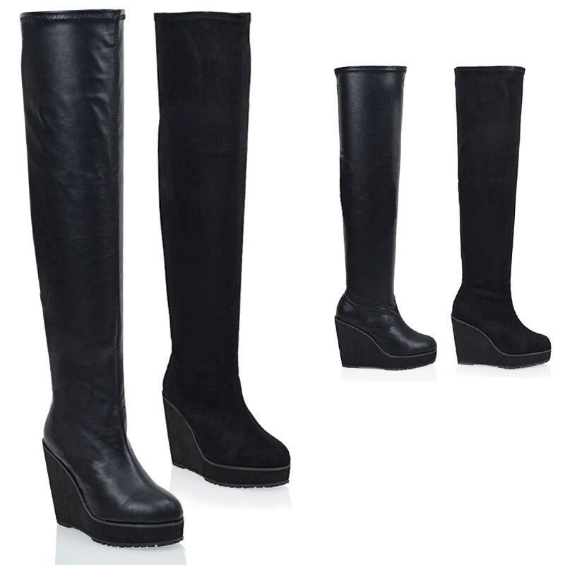 Ladies Over The Knee High Platform Wedge Heel Womens Stretch Thigh High Boots