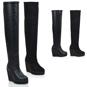 Ladies-Over-The-Knee-High-Platform-Wedge-Heel-Womens-Stretch-Thigh-High-Boots