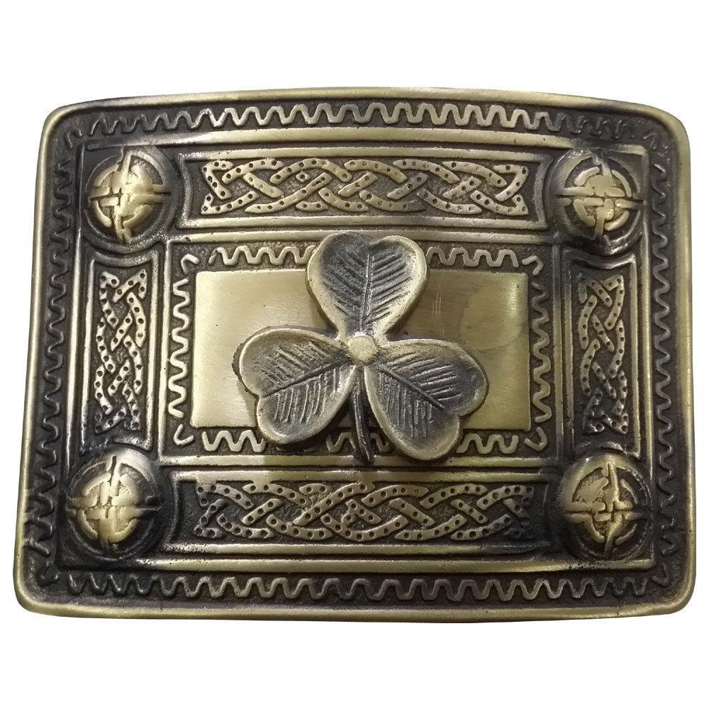 Highland Kilt Belt Buckle Irish Shamrock Antique Finish/Scottish Celtic Buckles