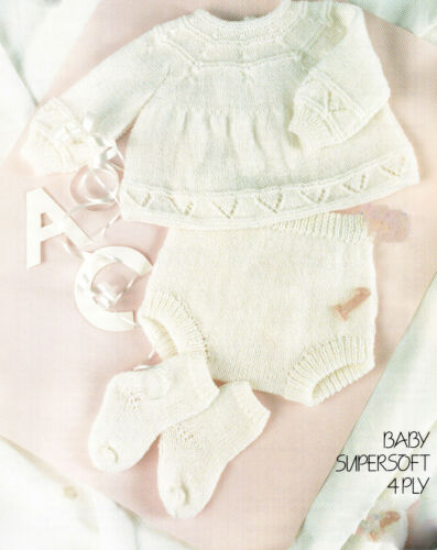 "Knitting PATTERN fits 14-18/"" chest pants /& Socks in 4 ply Baby boy~Girl ~ Top"