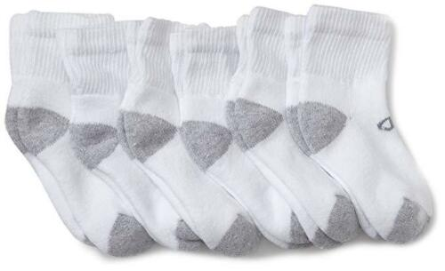 Champion Boys/' 6 Pack Quarter Socks NEW. Shoe Size 4 1//2-8 1//2 Small