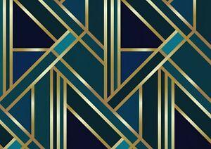 A1-Green-Gold-Art-Deco-Poster-Art-Print-60-x-90cm-180gsm-Elegant-Gift-12546