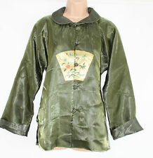 VTG Green Chiffon Chinese Traditional Kimono Ladies Blazer Jacket Sz L Festival
