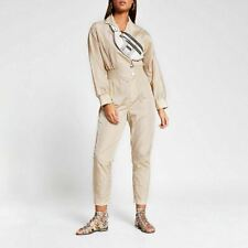 River Island Womens Beige Shirred Waist Boiler Jumpsuit
