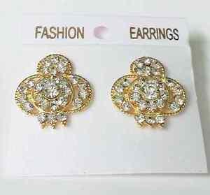 22k INDIAN GOLD PLATED  Flower Gold  Ear Stud Earrings