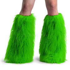 Demonia Furry Cyber Goth Anime Rave Monster Fake Fur Boot Sleeves Covers GREEN