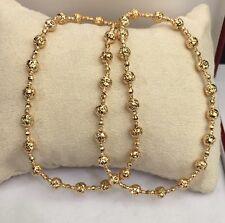 "18k Solid Yellow Gold Italian Beaded Chain Necklace, Diamond Cut,9.76Grams. 16"""
