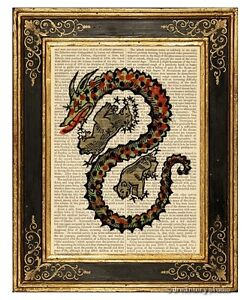 Draco The Dragon 1 Art Print On Vintage Book Constellation Home Decor Gifts Ebay