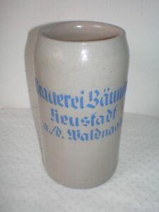 1L Maßkrug Bierkrug Brauerei Bäumler Neustadt a. d. Waldnaab dick aufgelegt RAR