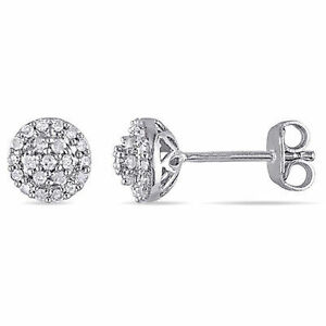 Sterling-Silver-1-4-Ct-TDW-Diamond-Halo-Earrings-H-I-I2-I3