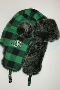 SASKATCHEWAN-ROUGHRIDERS-GREEN-AND-BLACK-PLAID-TRAPPER-HAT-BLACK-FUZZ-NEW
