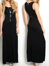 Black Lace-Up Back Sleeveless Jersey Tank Long Maxi Dress S M L