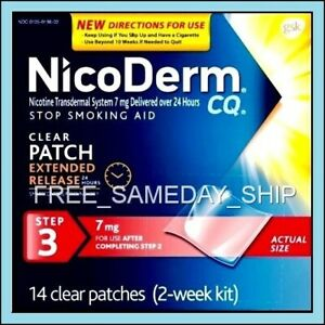FREE-SAMEDAY-SHIP-Nicoderm-CQ-Step-3-FEB-2020-2-Week-14-Nicotine-Patches-7mg