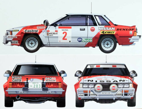 Nissan 240RS BS110 /'84 Safari Rally 1:24 Model Kit Bausatz Beemax Aoshima 104330