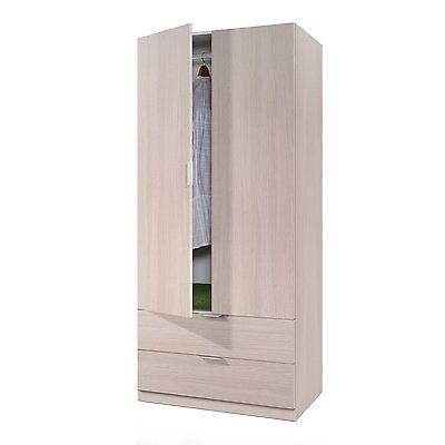 Armario auxiliar 2 puertas y 2 cajones, armario con perchero, color Roble