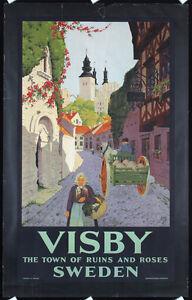 Original-1930s-Swedish-Travel-Poster-Wisby-IVAR-GULL-Lot-338