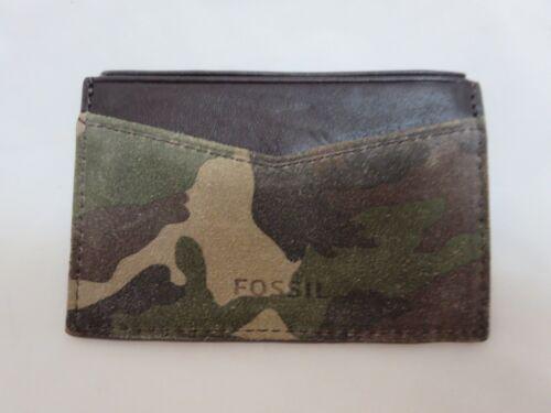 Men/'s FOSSIL Gordon CAMOUFLAGE LEATHER Card Case Wallet ML3663B348