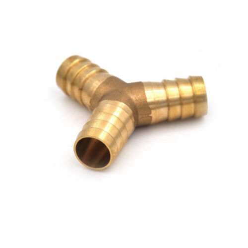 "Brass Barbed /""Y/"" Splitter Joiner Connector Pipe Fitting Air Fuel Hose TB"