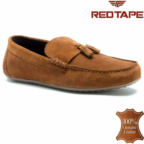 Mens Red Tape Leather Slip On Casual Mocassin Designer Loafer Driving Shoe Size