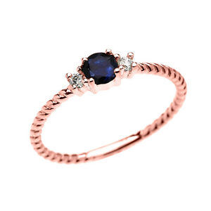 10k-Rose-Gold-Dainty-Solitaire-Sapphire-amp-White-Topaz-Rope-Stackable-Ring