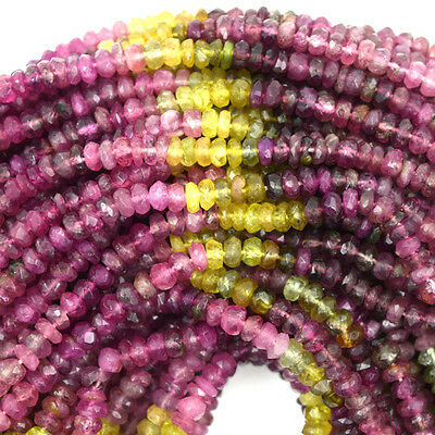 """3mm faceted watermelon tourmaline rondelle beads 15"""" strand S2"""