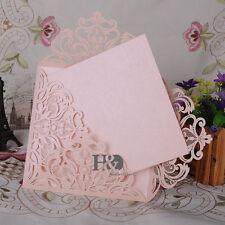 12 PCS Beige Pink Laser Cut Wedding Invitation Cards Blank Inner Party Birthday
