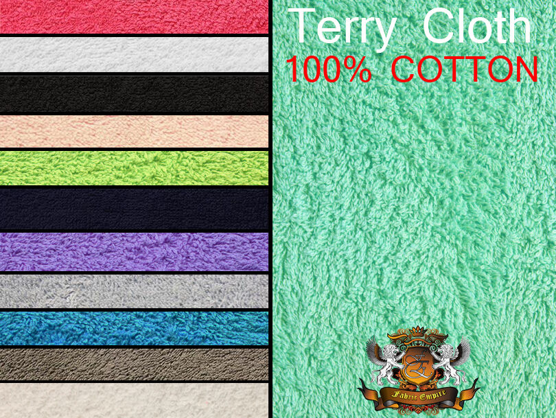 "58/"" wide 10oz Sold by the Half Yard Terry Cloth Fabric 56/"" 12 Color Choices"