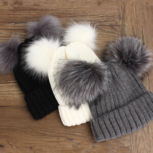 Winter Outdoor Women s Warm Chunky Knit With Double Fur Pom Pom Cute ... 2ff71ad239d0