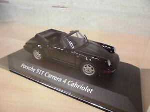 Porsche 911 Carrera 2 Cabrio 1990 schwarz Modellauto 1:43 Maxichamps 964
