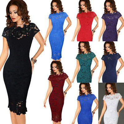 Womens Elegant Sexy Crochet Lace Cocktail Evening Special Occasion Bodycon Dress
