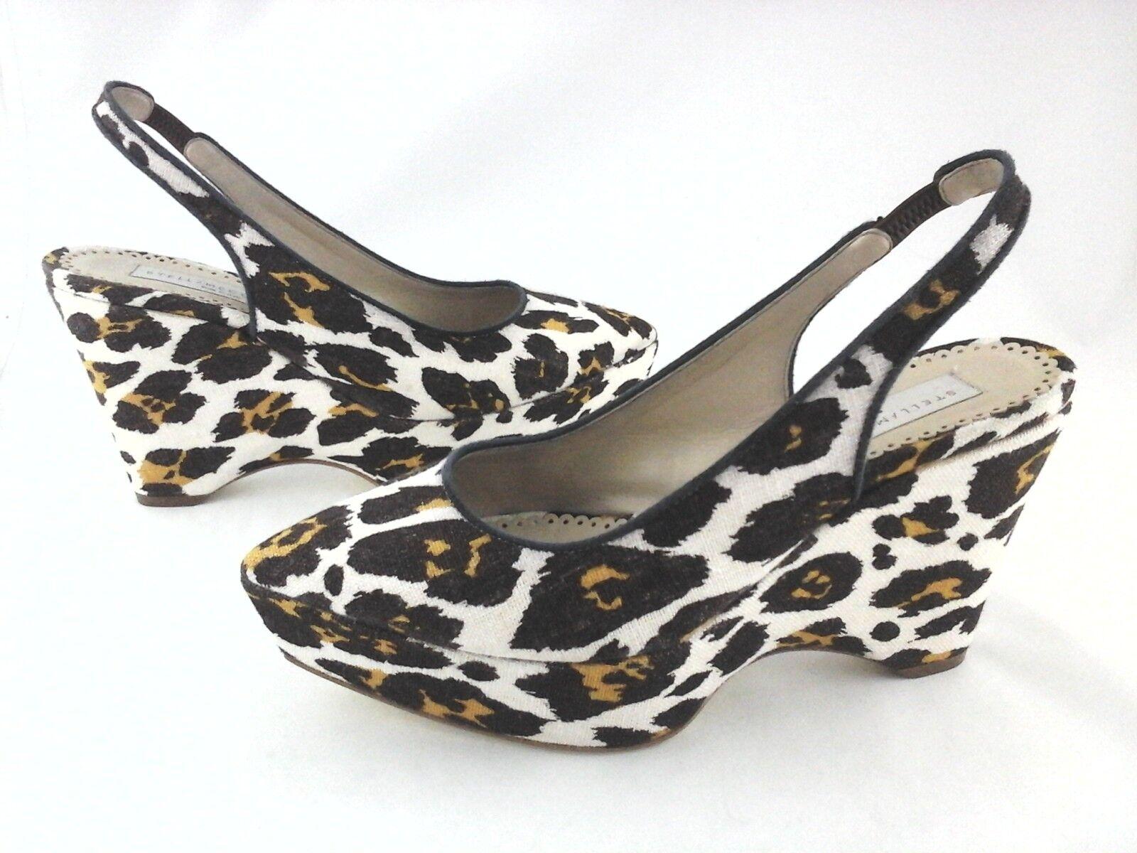 Stella Stella Stella McCartney Leopardo Cuñas Tacones Pointy Lona Marrón US 6.5 EU 37  695 b8035f