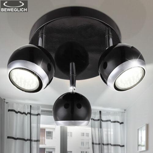 Retro Rondell Plafonnier Salon travail Chambre Lampe Noir Spots Mobiles