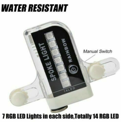 2Pcs Rainbow LED Bicycle Spoke Lights Battery Powered **New In Package**