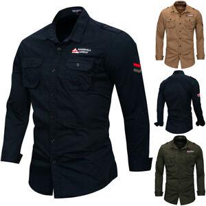 Men-039-s-100-Cotton-Military-Shirt-Button-Down-Long-Sleeve-Casual-Shirts-Outdoor