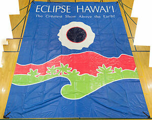 1991-Total-Solar-Eclipse-Hawaii-Banner-Rare-event-souvenir-memorabilia-unusual