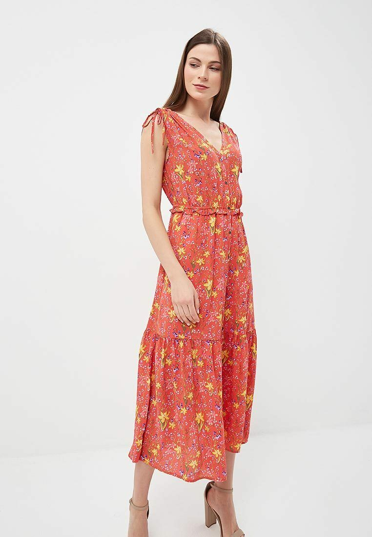 NWOT Gap Floral Tiered Midi Dress, Coral SIZE S      E82 E1125