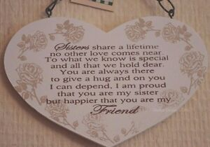 Image Is Loading Heart Plaque Special Sister Always My Friend Wooden