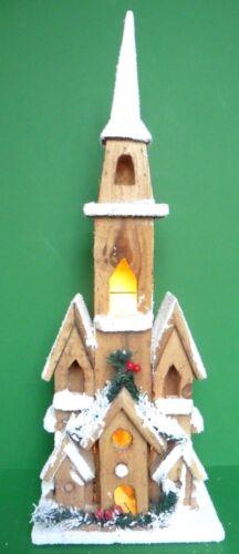 NORDIC LIT VILLAGE CHRISTMAS WOODEN LIT CHURCH 50CM HEIGHT