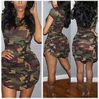 Zanzea S-5XL Women Short Sleeve Casual Camouflage Party Bodycon Mini Dress Plus