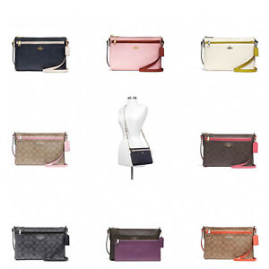 563a954afcfec9 Image is loading New-Coach-F58316-East-West-Crossbody-With-Pop-