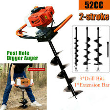 52cc Post Hole Digger Gas Powered Earth Auger Borer Fence Ground Amp 3 Drill Bit