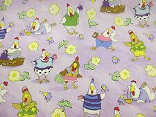Lilac Hens & Flowers Printed 100% Cotton Poplin Fabric. PER METRE!