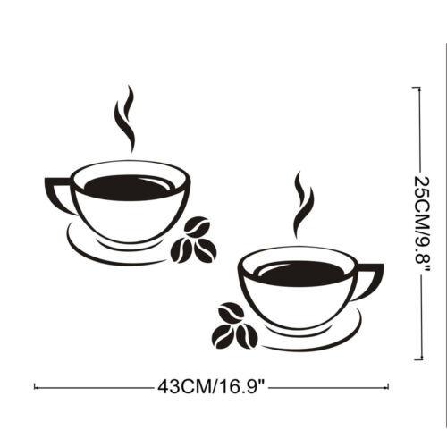 Coffee Cups Kitchen Wall Stickers Art Vinyl Decal Restaurant Pub Cafe Home Decor