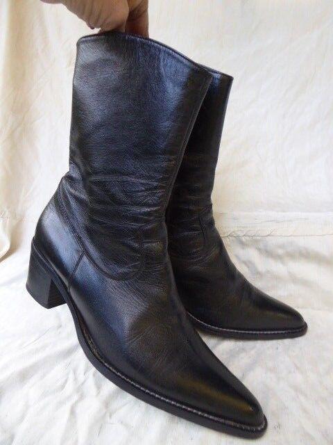 Boots bottines santiag 100% Cuir black 39,5 40 confection italienne parfait état