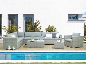 Xxl Designer Rattan Gartenmobel Lounge Sitzgruppe Rattanlounge Grau