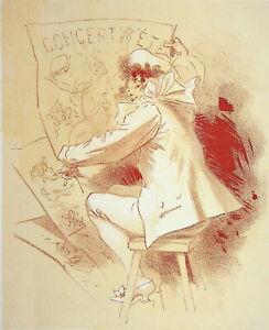 Jules Cheret - Artista Feliz - Litografía Original, Firmada, 1895